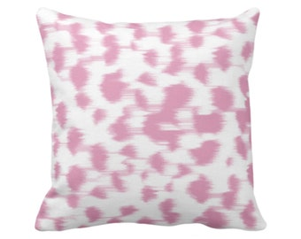 """OUTDOOR Ikat Abstract Animal Print Throw Pillow or Cover 14, 16, 18, 20, 26"""" Sq Pillows/Covers, Rose Pink/White Spotted/Dots/Spots/Geo/Dot"""