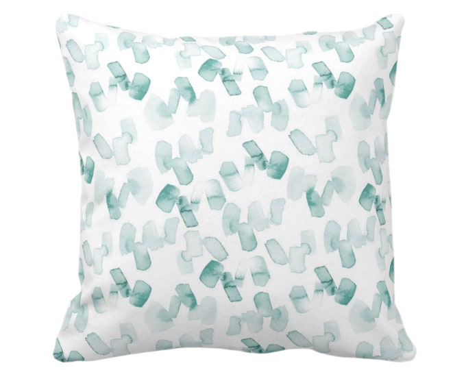 "Watercolor Confetti Abstract Throw Pillow or Cover, Lagoon/White 16, 18, 20 or 26"" Sq Pillows or Covers, Hand-Dyed Print, Dusty Blue/Green"