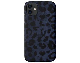 Navy Leopard iPhone 12, 11, XS, XR, X, 7/8 Pro/Max/MINI/P/Plus Snap Case or Tough Protective Cover Blue/Black Animal Print/Pattern, Galaxy