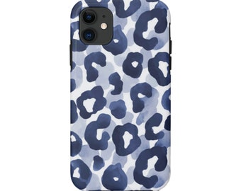 READY 2 SHIP Watercolor Leopard iPhone MATTE 11 Tough Protective Cover, Dark Navy Blue Animal Print Galaxy