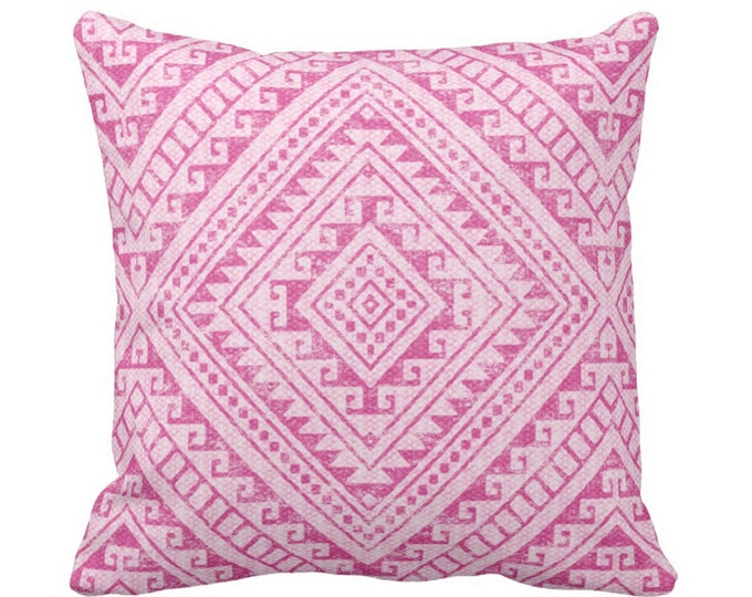 "Diamond Geo Throw Pillow or Cover, Pink 16, 18, 20 or 26"" Sq Pillows or Covers, Bright Fuchsia Geometric/Tribal/Batik/Geo/Boho"