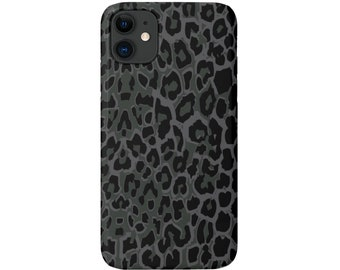 Gray Leopard iPhone 11, XS, XR, X, 7/8, 6/6S Pro/Max/Plus/P Snap Case or TOUGH Protective Cover, Black/Grey Animal Spots/Print, Galaxy/lg