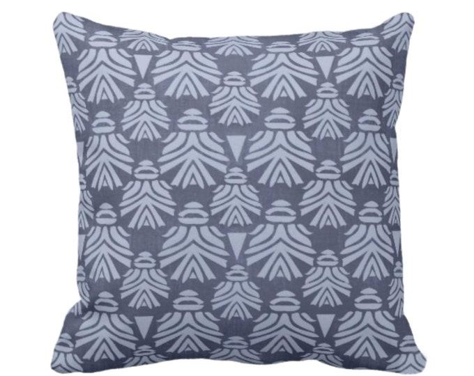 "OUTDOOR Block Print African Mask Throw Pillow or Cover, Navy/Indigo 16, 18 or 20"" Sq Pillows, Covers, Dark Blue Tribal Blockprint/Boho Print"