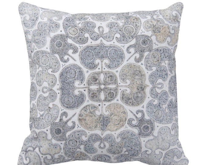 "Batik Scroll Printed Throw Pillow or Cover, Blue/Gray/Multi 14, 16, 18, 20 or 26"" Sq Pillows/Covers, Vintage Chinese Grey/Beige/Sand Textile"