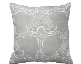 "OUTDOOR Lotus Batik Printed Throw Pillow, Gray 16, 18, 20"" Square Covers/Pillows, Print, Vintage Chinese Grey Textile"
