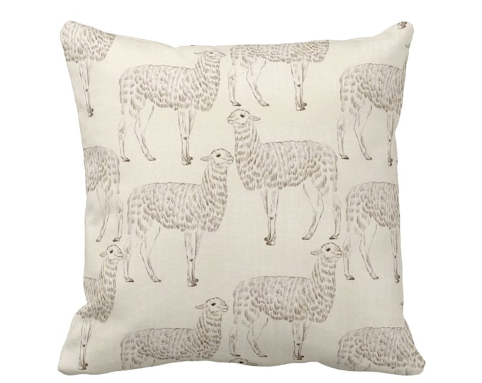 "Llama Print Throw Pillow or Cover, Beige 14, 16, 18, 20"" Sq Pillows/Covers, Modern/Gender/Neutral/Nursery/Animals/Animal/Llama/Art"