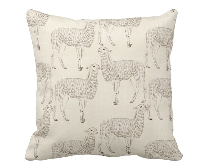 "Llama Print Throw Pillow or Cover, Beige 16, 18, 20 or 26"" Sq Pillows/Covers, Modern/Gender/Neutral/Nursery/Animals/Animal/Llama/Art"