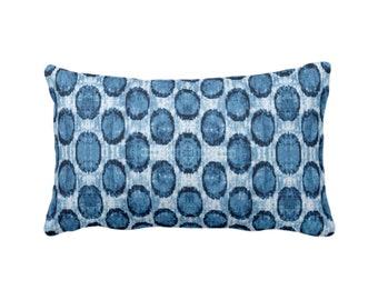 "Ikat Ovals Print Throw Pillow or Cover 14 x 20"" Lumbar/Oblong Pillows or Covers, Indigo Blue Geometric/Circles/Dots/Dot/Geo/Polka Pattern"