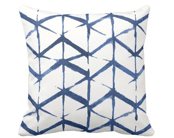 "OUTDOOR Shadow Geo Print Throw Pillow or Cover, Navy/White 14, 16, 18, 20 or 26"" Sq Pillows/Covers, Navy/Blue Chevron/Geometric/Art/Print"