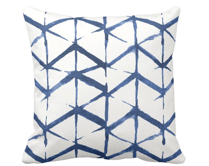 "OUTDOOR Shadow Geo Print Throw Pillow or Cover, Navy/White 16, 18 or 20"" Sq Pillows or Covers, Navy/Blue Chevron/Geometric/Art/Print"