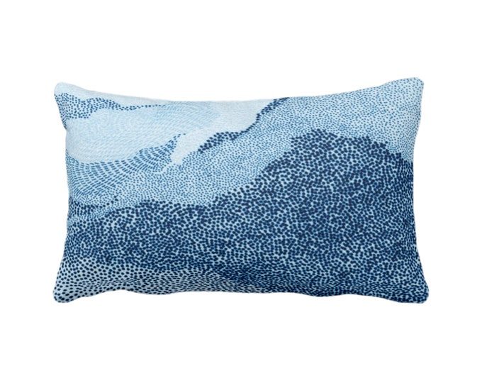 "Indigo Ombre Dot Wave Throw Pillow/Cover 14 x 20"" Lumbar/Oblong Pillows/Covers, Blue Geometric/Art/Print/Design/Striped/Stripes/Geo/Lines"