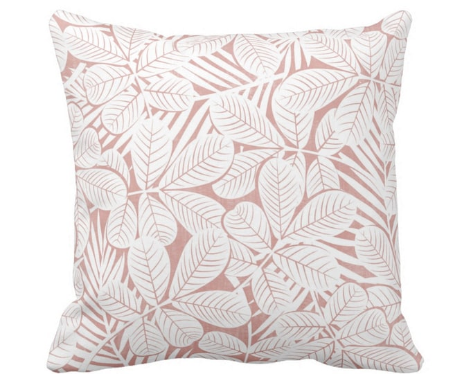 """OUTDOOR Modern Leaves Throw Pillow or Cover Pink/White Print 16, 18 or 20"""" Sq Pillows or Covers Millenial/Dusty Retro Tropical Print"""