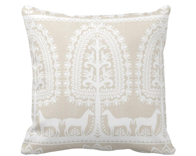 """Folk Print Throw Pillow or Cover, Cream/White 16, 18, 20, 26"""" Sq Pillows/Covers Beige/Off-White Animal/Floral/Mexican/Boho/Tribal Pattern"""