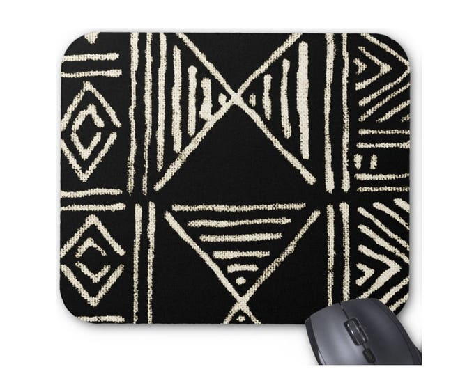 Mud Cloth Print Mouse Pad/Mousepad, Black Tribal African Print