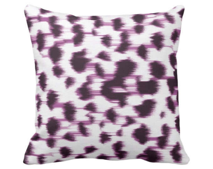 """Ikat Abstract Animal Print Throw Pillow or Cover 14, 16, 18, 20, 26"""" Sq Pillows/Covers, Dark Purple/White Spots/Spotted/Dots/Dot/Geo/Painted"""