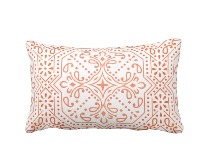 "READY 2 SHIP - OUTDOOR Tile Print Throw Pillow Cover, Coral/White 14 x 20"" Lumbar Pillow Covers, Red/Orange Medallion/Geo/Geometric Pattern"