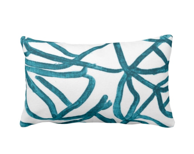 """OUTDOOR Abstract Throw Pillow or Cover, White/Teal 14 x 20"""" Lumbar Pillows/Covers Print Blue/Green Painted Aqua Abstract Geometric/Geo/Lines"""
