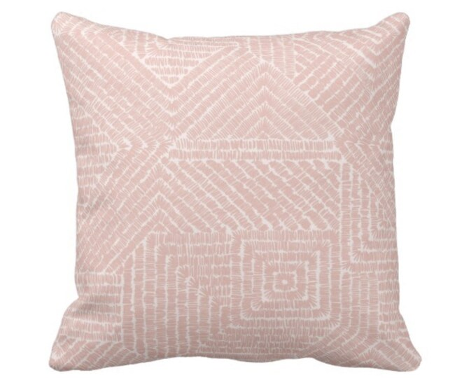 """OUTDOOR Tribal Geo Throw Pillow or Cover, Dusty Rose 16, 18 or 20"""" Sq Pillows or Covers, Blush Pink Geometric/Tribal/Batik/Geo/Boho/Diamond"""
