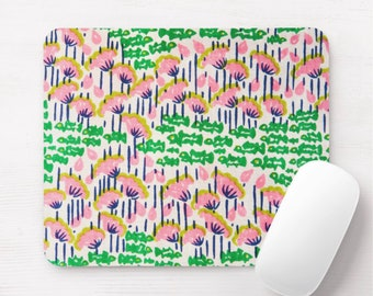 Retro Floral Mouse Pad, Vintage Maximalist Pink/Green/Blue/Yellow Flowers/Art Print/Pattern Mousepad, Bright/Colorful/Happy