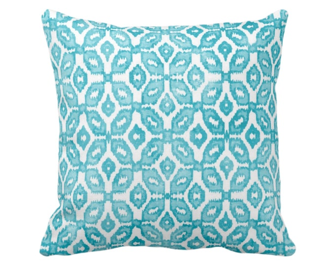 "Teal Ikat Print Throw Pillow or Cover 16, 18, 20 or 26"" Sq Pillows or Covers, White/Aqua Geometric/Diamonds/Dots/Diamond/Trellis/Geo/Lines"