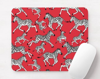 Zebras Mouse Pad, Masai Red, Black & White Mousepad, Zebra Print/Pattern