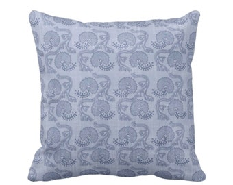 "Block Print Floral Throw Pillow or Cover, Dusty Blue 16, 18, 20 or 26"" Sq Pillows or Covers, Flower/Tribal/Batik/Geo/Boho Pattern"