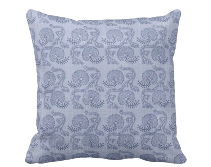 """Block Print Floral Throw Pillow or Cover, Dusty Blue 16, 18, 20 or 26"""" Sq Pillows or Covers, Flower/Tribal/Batik/Geo/Boho Pattern"""