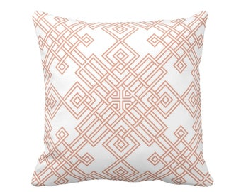 "Interlocking Geo Throw Pillow or Cover, Coral/White 16, 18, 20 or 26"" Sq Pillows or Covers, Orange/Red Geometric Print/Pattern"