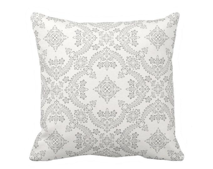 "OUTDOOR Priano Print Throw Pillow, Charcoal/White 16, 18, 20"" Sq Pillows, Dark Gray/Grey Floral/Tile/Geometric/Trellis/Geo Pattern"