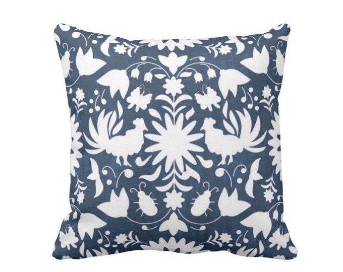 "Otomi Throw Pillow or Cover, Navy/White 16, 18, 20 or 26"" Sq Pillows or Covers, Blue Mexican/Boho/Floral/Animals/Nature Print"