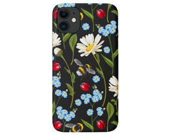 Bug Floral iPhone 12, 11, XS, XR, X, 7/8, 6/6S Pro/Max/P/Plus Snap Case or TOUGH Protective Cover, Flowers/Insects/Bees/Daisy Design, Galaxy