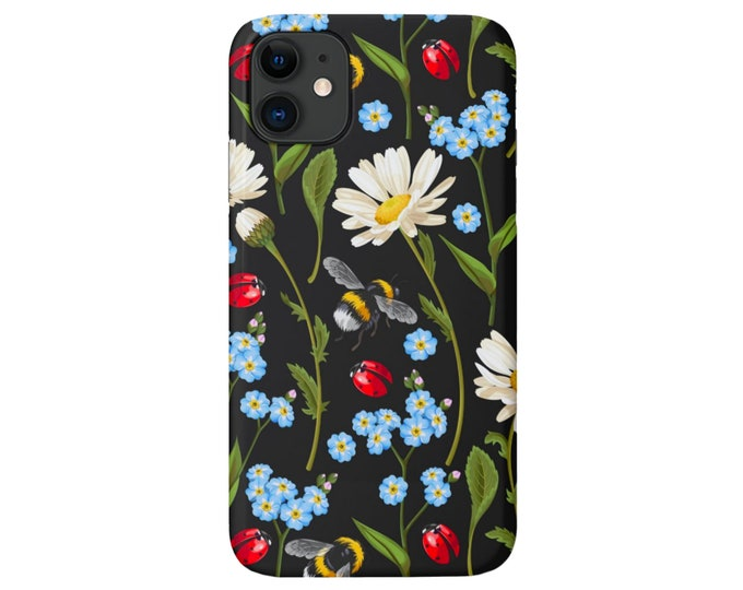 Bug Floral iPhone 11, XS, XR, X, 7/8, 6/6S Pro/Max/P/Plus Snap Case or TOUGH Protective Cover, Flowers/Insects/Bees/Daisy Design, Galaxy lg