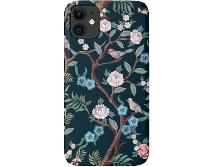 Peony Floral iPhone 11, XS, XR, X, 7/8, 6/6S, Pro/Max/P/Plus Snap Case or Tough Protective Cover, Teal Toile/Bird/Flower Pattern Galaxy LG