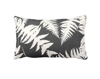 """Fern Silhouette Throw Pillow or Cover, Charcoal/Ivory Print 14 x 20"""" Lumbar Pillows or Covers, Gray Modern Leaf/Leaves/Plants"""