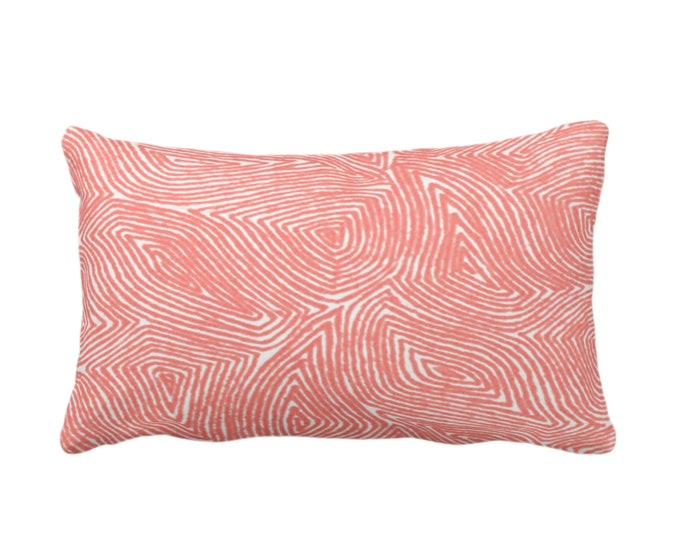 "OUTDOOR Sulcata Geo Throw Pillow or Cover, Living Coral & White 14 x 20"" Lumbar Pillows/Covers, Abstract Geometric/Lines/Waves Print/Pattern"