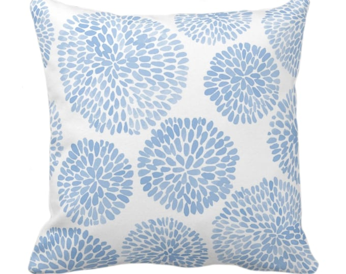 "Watercolor Chrysanthemum Throw Pillow or Cover, Cornflower/White 14, 16, 18, 20, 26"" Sq Pillows/Covers Light Blue Modern/Floral/Flower Print"