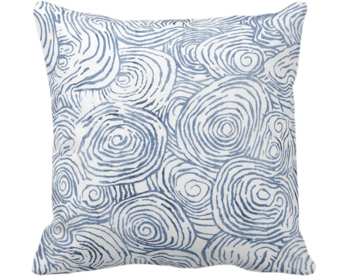 "OUTDOOR Watercolor Faux Bois Throw Pillow or Cover, Navy 14, 16, 18, 20 or 26"" Sq Pillows/Covers Dark Blue Painted Modern/Geometric Print"