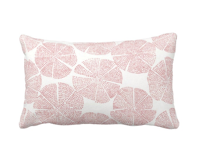 """OUTDOOR Blockprint Floral Throw Pillow or Cover, Rosewood/White 14 x 20"""" Lumbar Pillows/Covers, Dusty Pink Block/Medallion Print"""