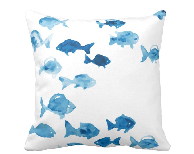 """Fishies Throw Pillow or Cover 16, 18, 20 or 26"""" Sq Pillows or Covers, Watercolor Ocean Blue/White Modern/Nautical/Fish, Turquoise"""