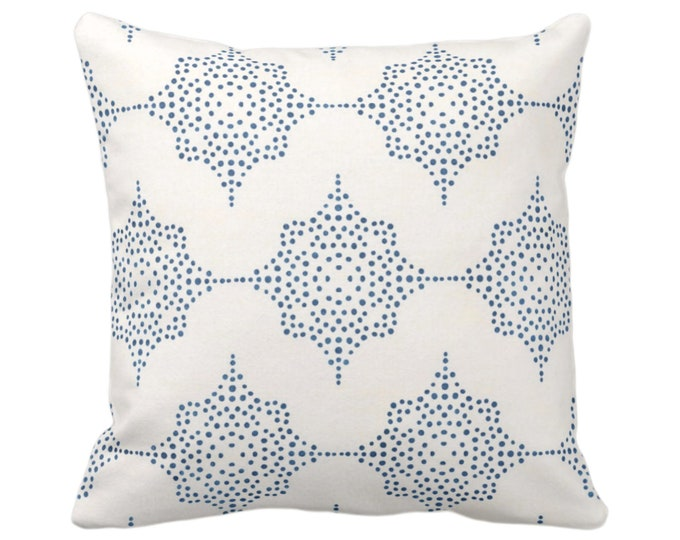 "OUTDOOR - READY 2 SHIP Block Print Stars Throw Pillow Cover, Navy & Ivory 20"" Square Cover, Dark Blue Geometric/Geo/Star/Blockprint"