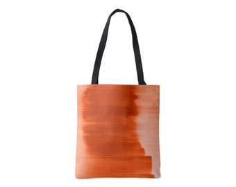 Ombre Stripe Market Tote, Copper Striped Print Bag, Bright Orange/Red Burnt/Sienna/Fall/Rust Abstract/Modern Pattern/Design, Grape/Plum