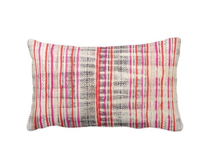 """OUTDOOR Thai Batik Print Throw Pillow or Cover, Off-White, Dark Indigo, Pink & Orange 14 x 20"""" Lumbar Pillow or Covers, Vintage Textile"""