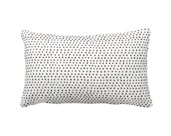"""OUTDOOR Allover Dots Throw Pillow or Cover, Black & Ivory Print 14 x 20"""" Lumbar Pillows or Covers, Black/Gray/Grey/Off-White Dot/Geometric"""