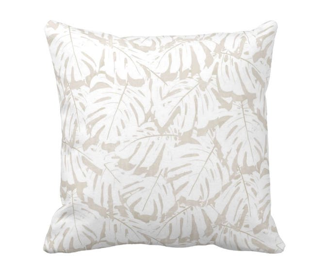 "Palm Print Throw Pillow or Cover, Sand/White 16, 18, 20, 26"" Sq Pillows or Covers, Beige/Tan Modern/Tropical/Leaf/Leaves/Pattern"