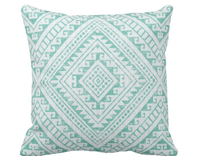 "Diamond Geo Throw Pillow or Cover, Teal 14, 16, 18, 20, 26"" Sq Pillows or Covers, Blue/Green Geometric/Tribal/Batik/Geo/Boho Print"