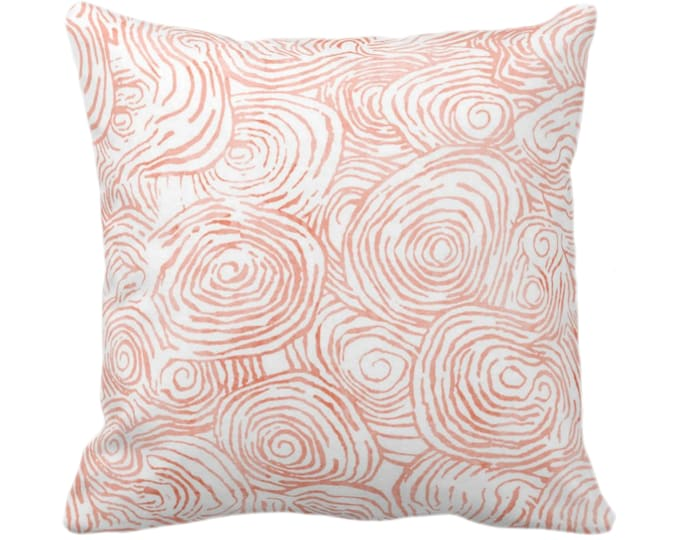 """Watercolor Faux Bois Throw Pillow or Cover, Dusty Terracotta 14, 16, 18, 20, 26"""" Sq Pillows/Covers Orange Painted Modern/Geometric/Geo Print"""