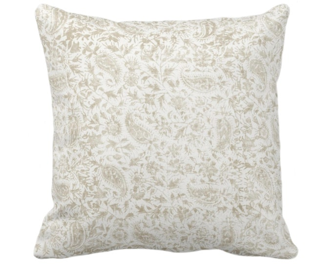 """OUTDOOR Worn Floral Throw Pillow or Cover, Off Ivory 14, 16, 18, 20, 26"""" Sq Pillows/Covers, White/Bone Vintage/Boho/Natural/Tribal Print"""