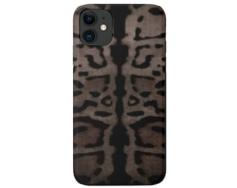 Taupe Leopard iPhone 12, 11, XS, XR, X, 7/8, 6/6S Pro/Max/P/Plus Snap Case or TOUGH Protective Cover, Gray/Black Animal Print/Pattern