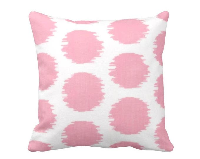 """OUTDOOR - READY 2 SHIP Ikat Dot Print Throw Pillow Cover Only, Pink/White Geometric 14"""" Sq Pillow Covers, Light/Pastel Circles Pattern"""
