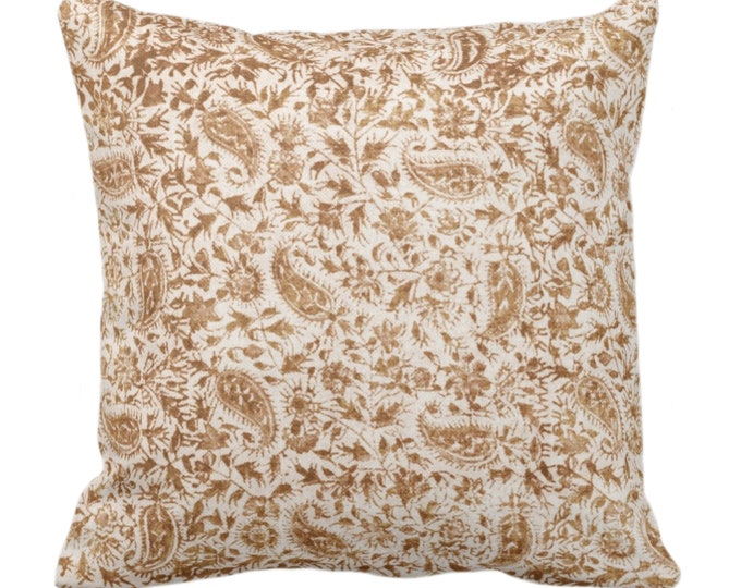 """OUTDOOR Worn Floral Throw Pillow or Cover, Saddle 14, 16, 18, 20, 26"""" Sq Pillows/Covers, Camel/Brown Vintage/Boho/Natural/Tribal Print"""